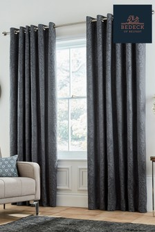 Bedeck of Belfast Allegro Jacquard Damask Lined Eyelet Curtains