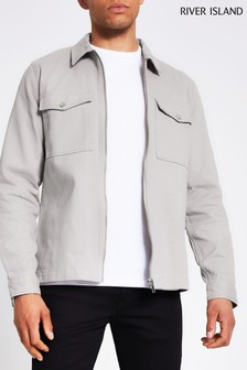 River Island Grey Zip Pocket Overshirt