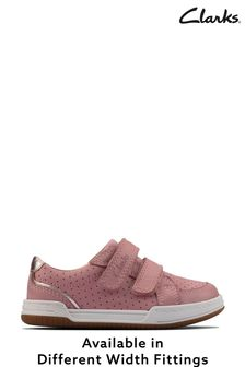 Clarks Light Pink Lea Fawn Solo T Shoes