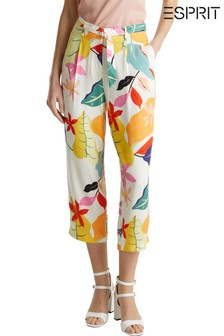 Esprit Natural Printed Cropped Belted Coulot Pants