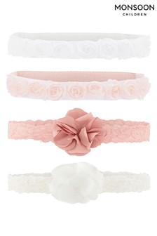 Monsoon Pink Baby Rosette And Pom Flower Four Pack Set