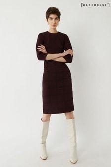 Warehouse Berry Crepe Check Midi Dress