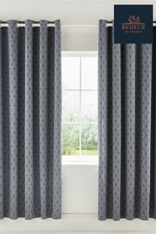 Bedeck of Belfast Cadenza Geo Cotton Lined Eyelet Curtains