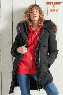 Superdry Premium Down Classics Black Rescue Parka Coat