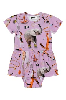 Molo Baby Girls Pink Organic Cotton Bodysuit Dress