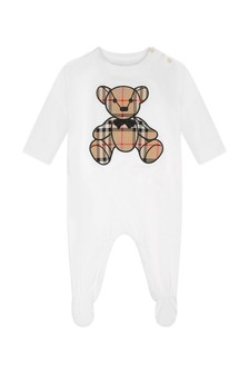 White Cotton Teddy Babygrow