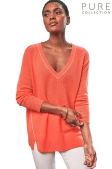 Pure Collection Orange Gassato Tipped V-Neck Sweater
