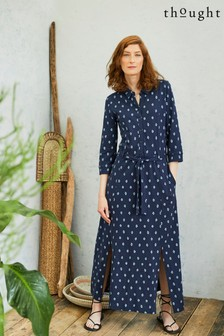 Thought Blue Romeshka Shirt Dress