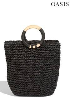 Oasis Black Wooden Handle Straw Tote Bag