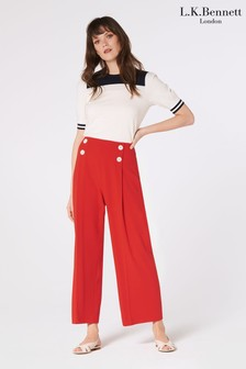 L.K.Bennett Red Parker Button Front Trousers