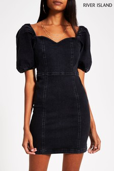 River Island Black Fitted With Puff Sleeve Dress