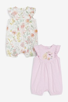 2 Pack Bunny/Floral Rompers (0mths-2yrs)