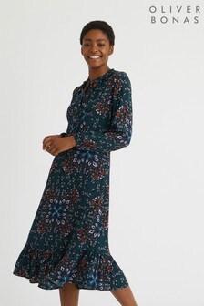 Oliver Bonas Enlightenment Print Midi Dress