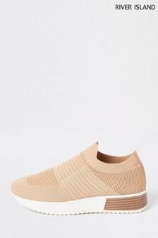 River Island Beige Flyknit Slip-On Wide Fit Shoes