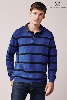Crew Clothing Blue Stripe Knitted Rugby Top