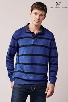 سترة Rugby محبوكة زرقاء مقلمة من Crew Clothing