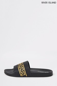 River Island Black Roman Bee Slides