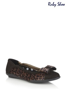 Ruby Shoo Brown Amber Slip-On Padded Ballerina Pump Shoes