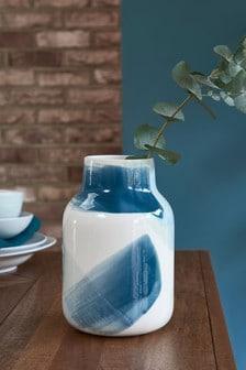 Blue Brush Stroke Ceramic Vase