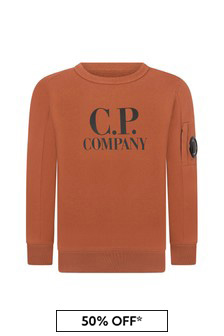 CP Company Boys Orange Cotton Sweater