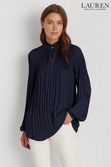 Lauren Ralph Lauren® Navy Duong Pleated Blouse