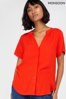 Monsoon Orange Zinnia Short Sleeve Blouse