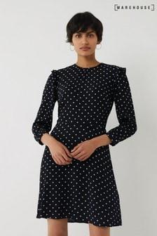Warehouse Black Spot Print Mini Dress