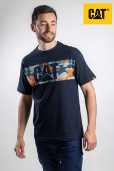 CAT Blue Camo Print T-Shirt