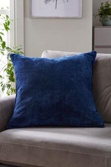 Dark Navy Blue Soft Velour Large Square Cushion