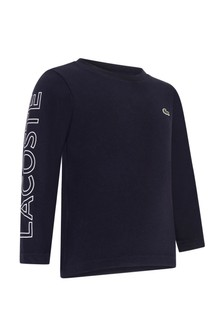 Boys Cotton Navy Long Sleeve T-Shirt