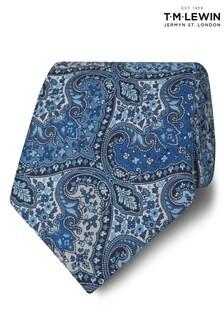 T.M. Lewin Liberty Fabric Wide Blue Spitalfields Cotton Tie