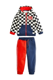 Baby Boys Cotton Colourblock & Damier Print Tracksuit