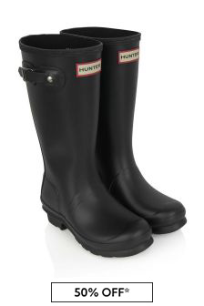 Kids Black Wellington Boots