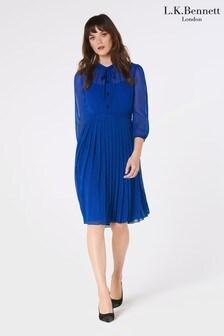 L.K.Bennett Blue Marlow Spot Print Dress