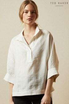 Ted Baker Cream Creela Linen Oversized Shirt