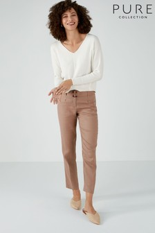 Pure Collection Camel Laundered Linen Belted Trousers