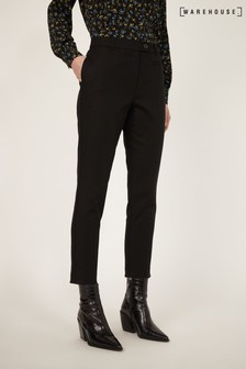 Warehouse Black Compact Cotton Trousers