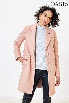 Oasis Pink Button Front Coat