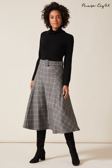 Phase Eight Grey Check A-Line Skirt