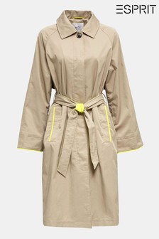 Esprit Cream Trench Coat With Turn-Up Sleeves And Colour Detail
