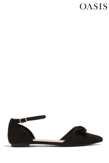 Oasis Black Bow Detail Flats