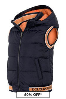 Boys Navy Nylon Padded Vest
