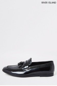 River Island Black Patent Tofer Loafers