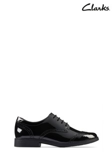 Clarks Black Patent Aubrie Craft Youths Shoes