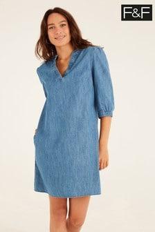 F&F Annie Denim Popover Dress