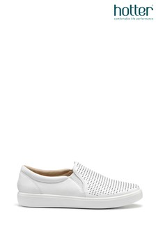 Hotter White Daisy Slip On Deck Shoes