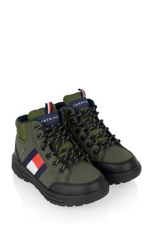 Tommy Hilfiger Boys Khaki Logo Flag Boots