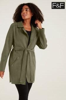 F&F Belted Suedette Khaki Jacket