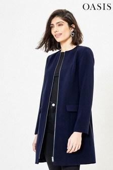 Oasis Blue Collarless Zip Coat