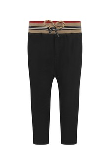 Burberry Kids Baby Boys Black Cotton Trousers
